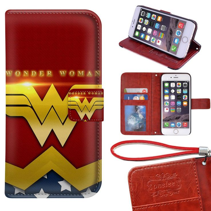 "iPhone 6S Plus Wallet Case - Onelee DC comics Wonder Women Premium PU Leather Case Wallet Flip Stand 5.5"" Case Cover for iPhone 6S Plus with Card Slots"