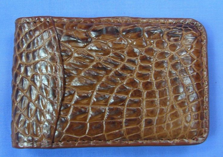 Red-Brown Genuine Crocodile Alligator Leather Money Clip Magnetic Closure #C006 #Handmade