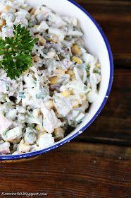 Sałatka z wędzonym kurczakiem na każdą okazję Składniki: 200 -300 g wędzonego kurczaka 1 słoik selera konserwowego 1 pusz...