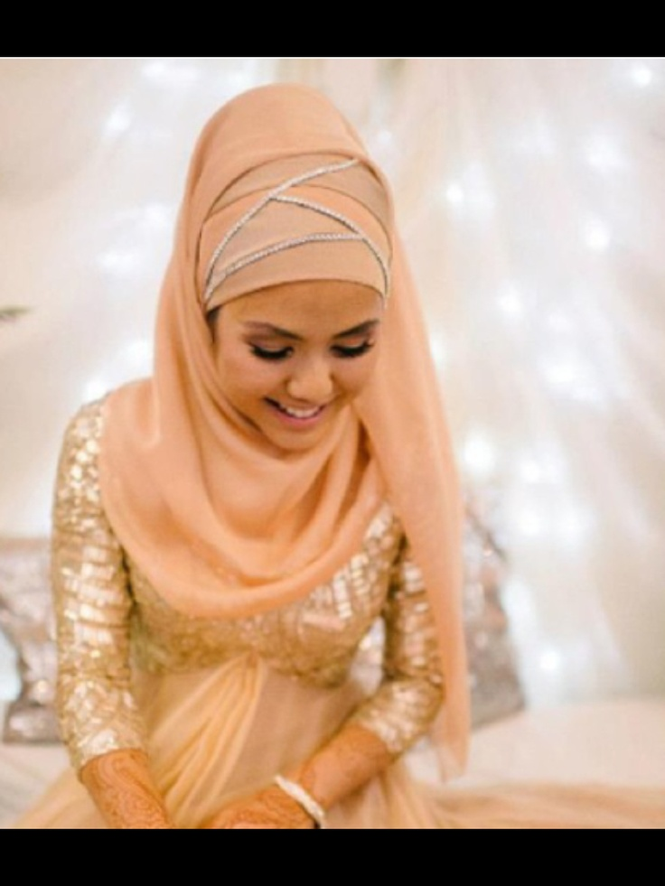 Peach and Sparkly #hijab ❤ hijab style