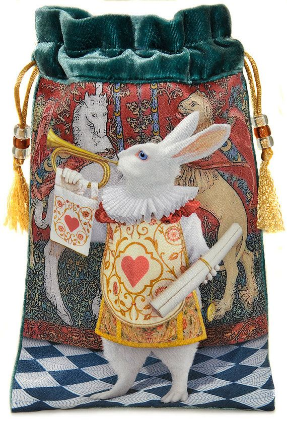 Tarot Bags Tarot Cards Cloths More: The White Rabbit Herald. Drawstring Bag Or Tarot