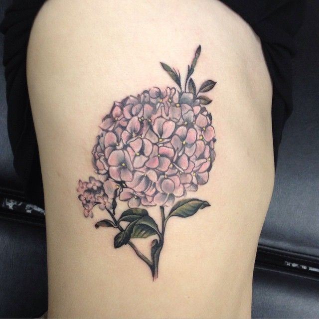 hydrangea on my ribs by dia moeller @ boston tattoo company. my first one!