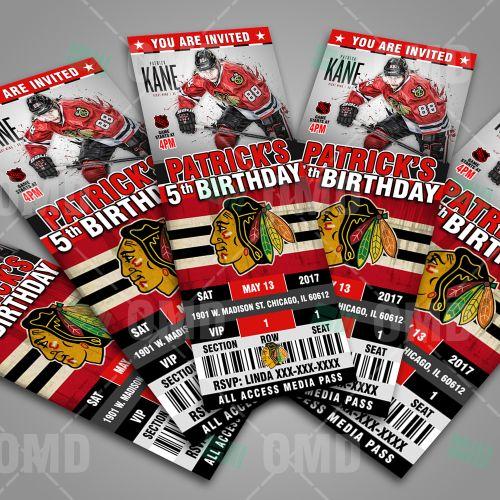 Chicago Blackhawks Ticket Style Birthday Party Invitations