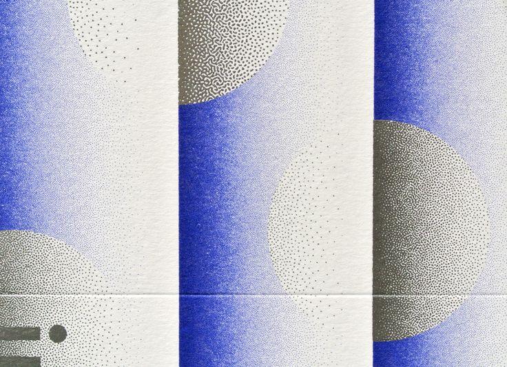 Carton d'invitation pour Lana. Sérigraphie. Bleu + chrome