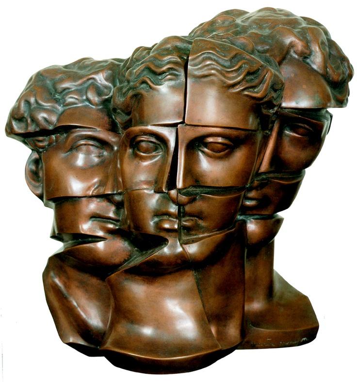 """Marta Minujin's """"Defragmented heads"""". (Argentine artist)."""