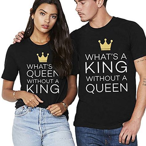 King Queen T-shirt Pärchen Set für 2 Couple Shirt