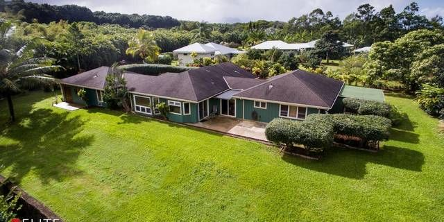 Excellent North Shore opportunity to own three acres of mature agricultural land located in Puu Pane subdivision. The single level 3BD/3BA home plus agricultural building is perched overlooking a terraced hillside which joins a beautiful stream and meadow area. The home is designed in three pods or pavilions connected by breezeways with the middle or main pavilion having the gourmet kitchen with gas cook island and walk-in pantry, living/dining areas, one bedroom and bath, and laundry room…
