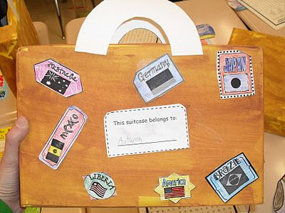 Christmas around the world suitcase made from painted cereal boxes.  Children put in their projects