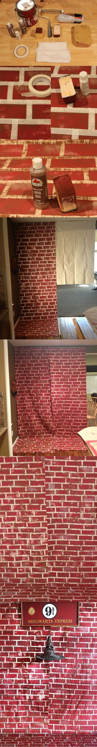 DIY Harry Potter Platform 9 3/4 Brick Wall. Cool if my kids ever want a Harry potter party