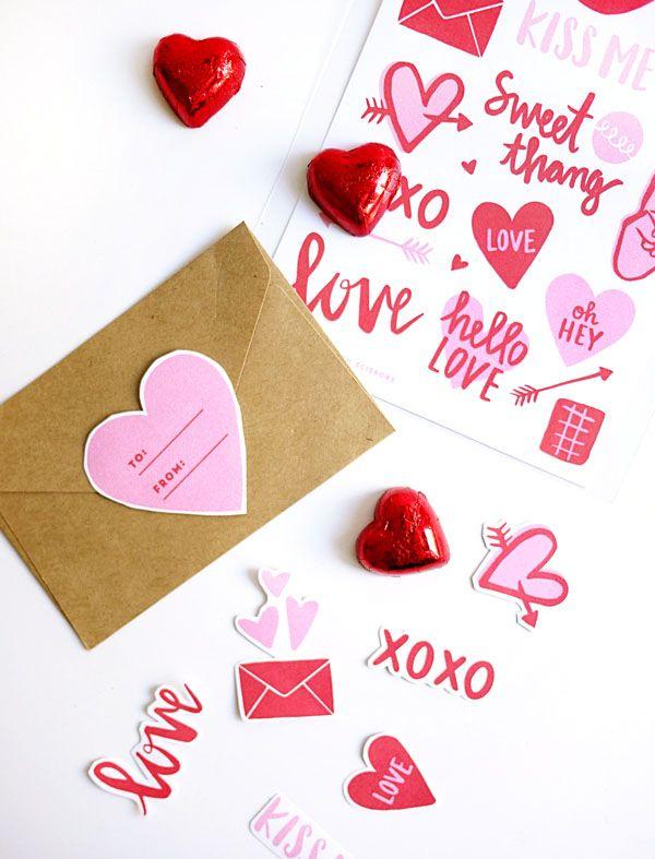 Printable Valentine Stickers | Oh Happy Day!