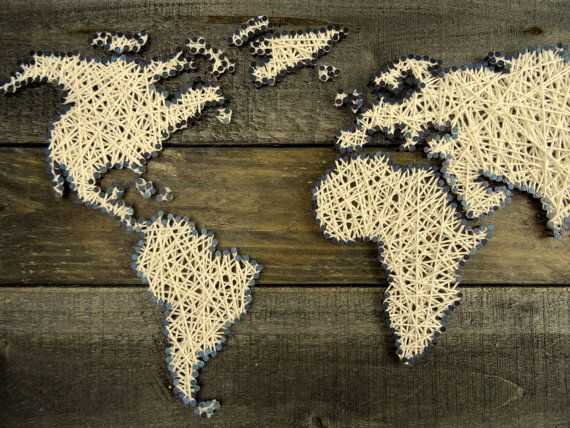 Best 25 world map picture ideas on pinterest map wall art world map string art gift for couple reclaimed wood sciox Gallery
