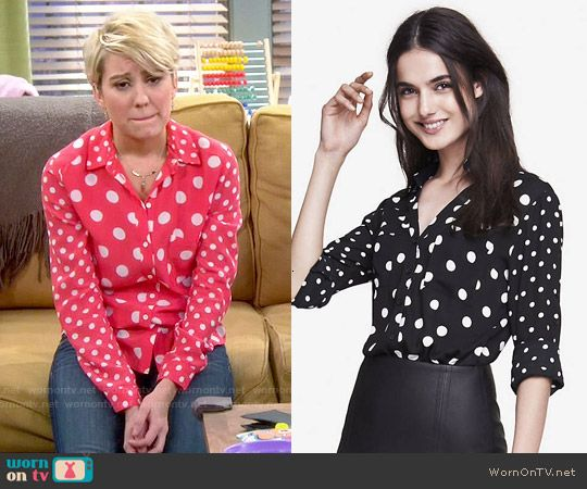 Riley's red polka dot shirt on Baby Daddy.  Outfit Details: http://wornontv.net/49730/ #BabyDaddy (exact color not online)
