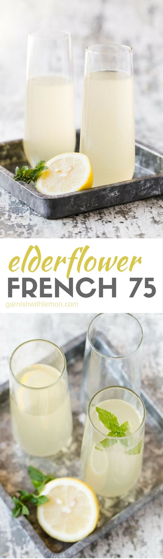 Bubbles just got even better with this easy Elderflower French 75 cocktail recipe.