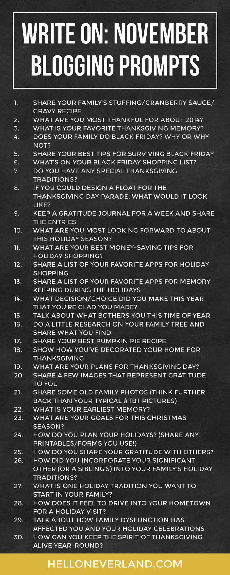 Write on: November blogging prompts | Hello Neverland