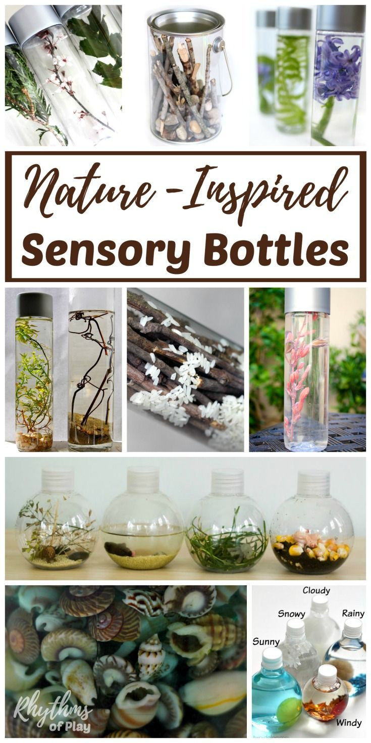 Nature Inspired Sensory Bottles can be used for safe no mess safe sensory play, a teaching aid, a time out tool, and to help children (and adults) calm down and unwind. They are also the perfect way for babies and toddlers to safely investigate natural items without the risk of choking on them. DIY Calm Down Jar | Nature Discovery Bottle
