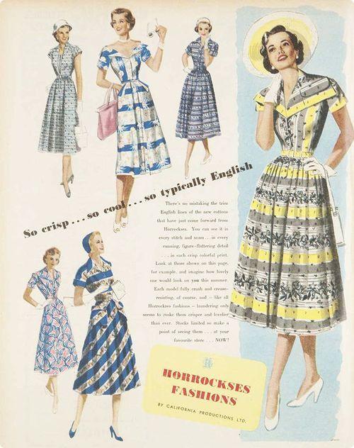Horrockes `1950s day dress floral photo illustration print ad models magazine yellow black blue stripes floral checks plaid