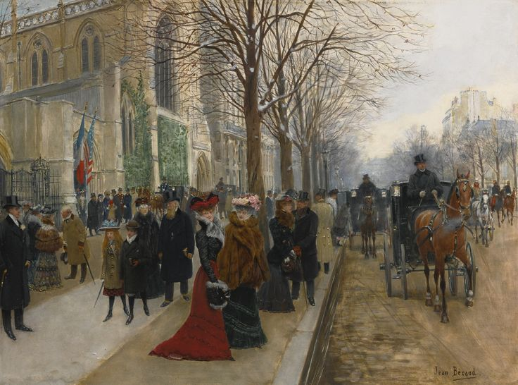 https://flic.kr/p/P5WMYs | Jean Béraud - Après l'office à l'église de la Sainte Trinité, Noël, 1890 | elegant parishioners leaving the Church of the Holy Trinity, now known as The American Cathedral in Paris, on Christmas day. Men sport their fine coats and top hats, children are smartly dressed and women are adorned in furs and elaborate chapeaus with lace veils, their long dresses in hues of green and red. The parishioners' fashions and the carriages and drivers are punctuated with…