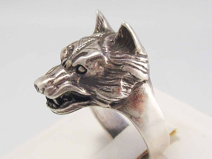 Vintage Sterling Silver 3D Wolf Head Ring Highly detailed Amazing Quality ~925~