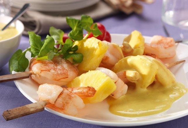 Scampi-brochette met ananas en curry