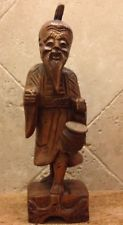 "ANTIQUE JAPANESE CARVING CARVED NETSUKE WOOD OLD MAN WITH DRUM 10.5"" Figurine"