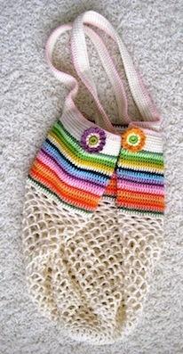 Beautiful crochet bag - love the rainbow stripes.