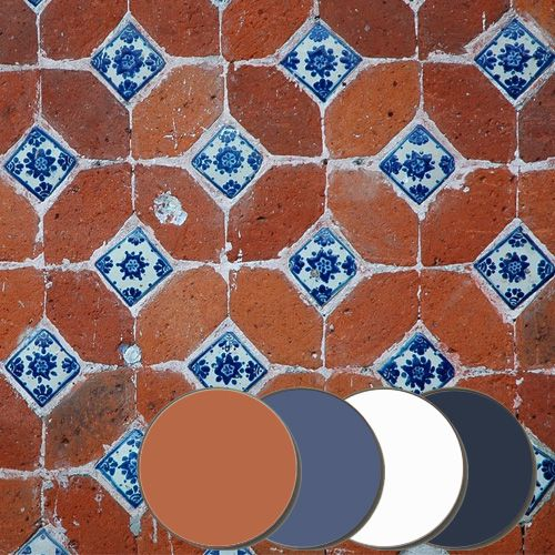 Find a soothing tone in this palette with the use of fresh blues on the backdrop of a sun-drenched red! It exudes the colors of hand-painted Mexican tiles in the...