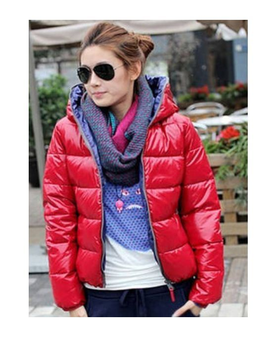 Red Eiderdown cotton Polyester Fluffy Coat