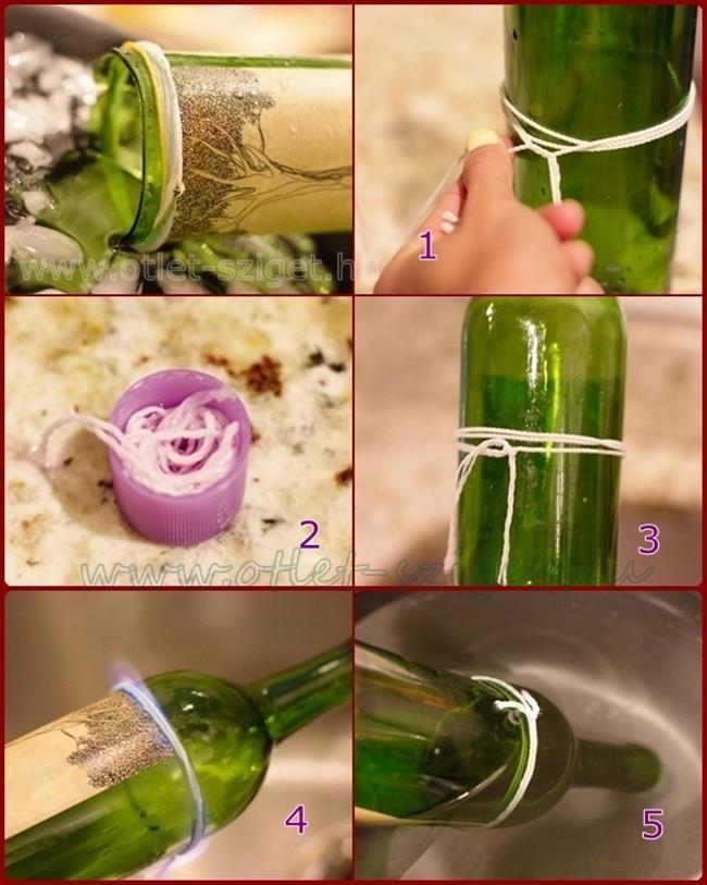 Üveg vágása otthon :)  1., készíts jeges vizet  2., acetonba áztass, nedvszívó fonalat  .... az üvegre tekerd rá az acetonba áztatott fonalat, majd gyújtsd meg, amikor már nem ég, gyorsan merítsd a jeges vízbe, így elpattan az üveg :)  CSISZOLD MEG AZ ÜVEG SZÉLÉT !  https://www.facebook.com/photo.php?fbid=319175788205331=a.212888525500725.43443.180124395443805=1=nf