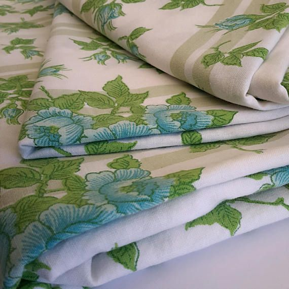 Two Vintage Bed Sheets Cotton 1970s Single Flats Turquoise