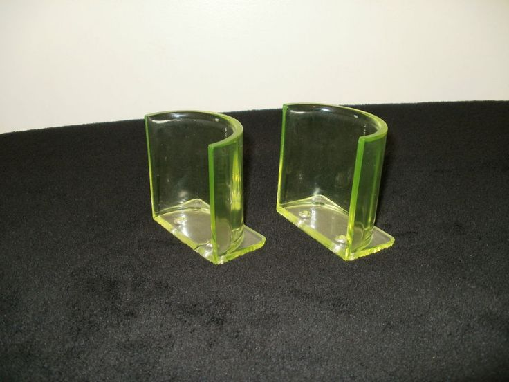 Pair Vintage Vaseline Glass Razor Blade Sharpener