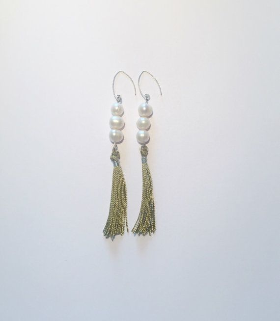 White, freshwater pearl and .925 sterling silver base, tassel earrings