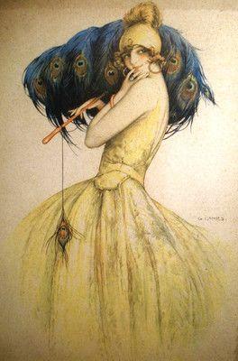 Gasper Camps large art deco peacock print 20's 30's flapper art nouveau woman
