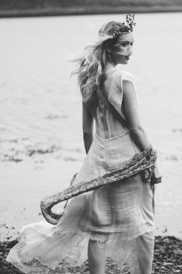© Ayna O'Driscoll Photography, Styling/Couture/Crown: Alice Halliday https://www.etsy.com/listing/466585420/boho-wedding-dress-mermaid-wedding-dress. Jewellery: Colin Johnson, Knitwear: Sharon Rose Designs. Boho Bridal Inspiration, Lady of the Lake, Mermaid Style, Boho Bride, Blue lipstick, Bridal Crown, beach wedding