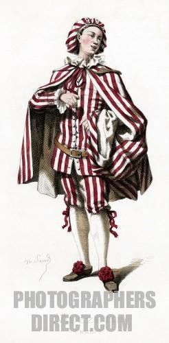 Mezzetin costume dated 1682 drawn by Maurice Sand , published in 1860 . Commedia dell Arte character wearing a ruffled collar and a hat . Variation of Scapino / Scapin . Inspiration for Molière s character . Servant stock photo