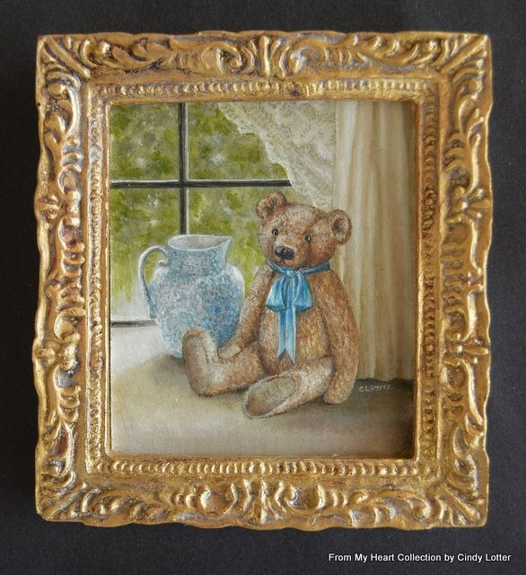 """Teddy in Window"" - An Original Oil Painting by Cindy Lotter"