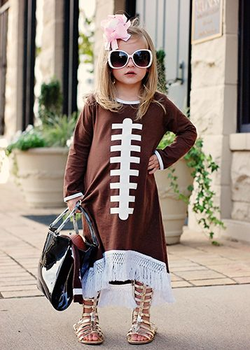 The Hair Bow Company - Football Long Sleeve Fringed High Low Dress for Girls, $14.99 (http://www.thehairbowcompany.com/football-long-sleeve-fringed-high-low-dress-for-girls/)