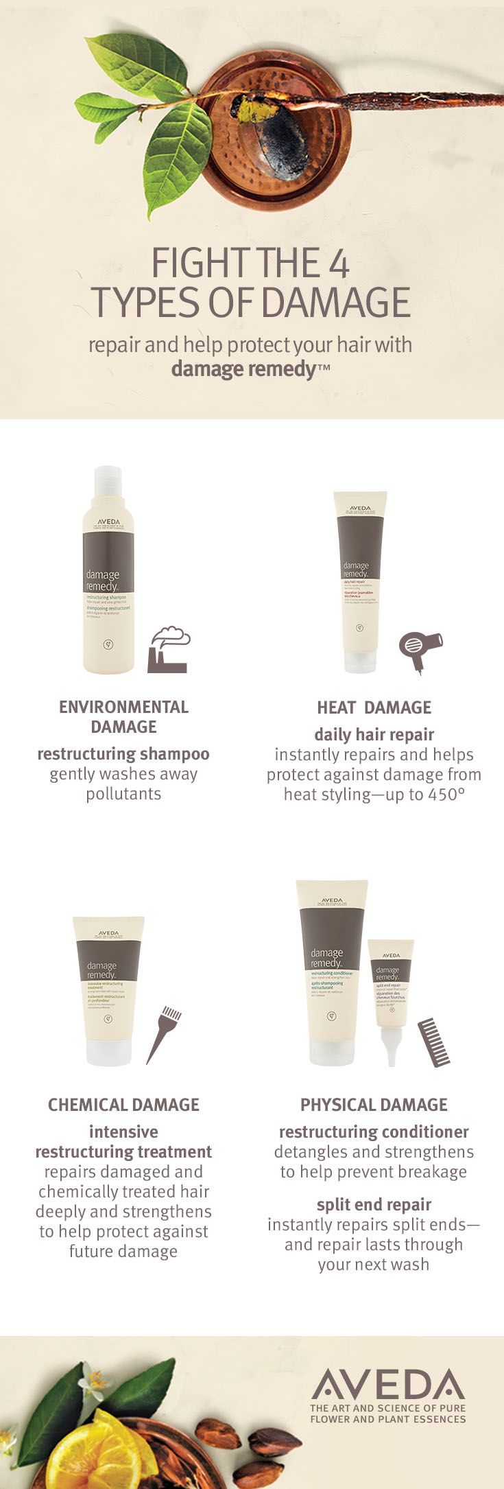 It's nature's remedy for damaged hair. Our Damage Remedy line helps repair environmental​ damage, heat damage, chemical damage or physical damage for beautiful, softer hair. Remedies include the Damage Remedy Intensive Restructuring Treatment and Split End Repair.