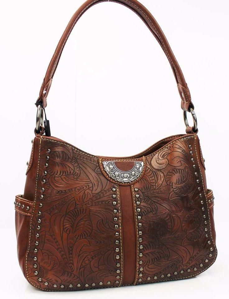 Tooled Western Concealed Carry Purse~Montana West Handbag Brown Gun Conceal Bag #MontanaWest #ShoulderBag