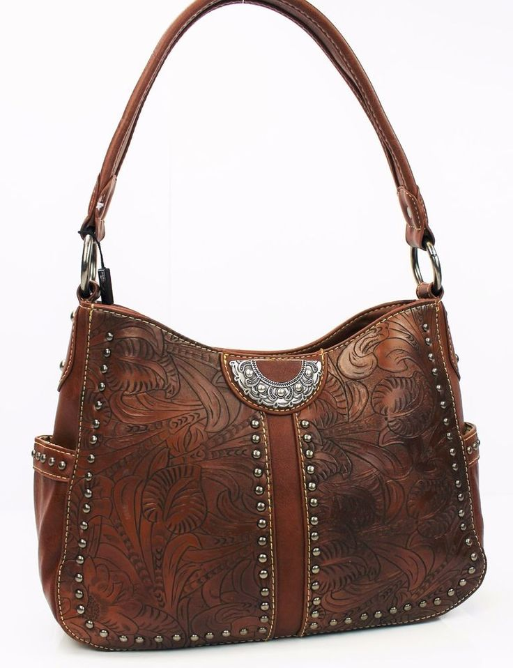 Tooled Western Concealed Carry Purse~Montana West Handbag Brown Gun Conceal Bag #MontanaWest #ShoulderBag
