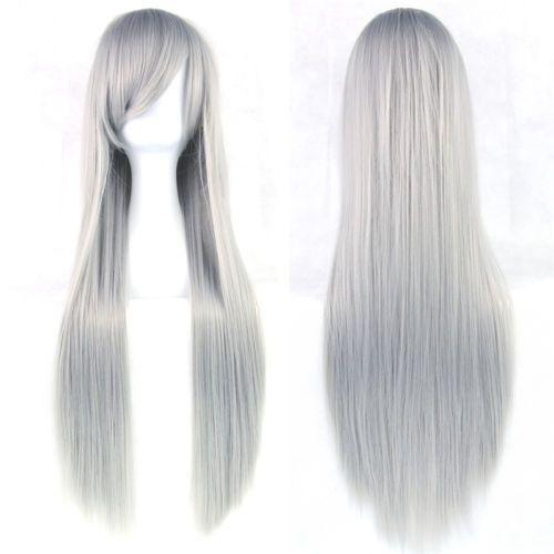 Carnavals pruik / Lang grijs haar  / 80 cm