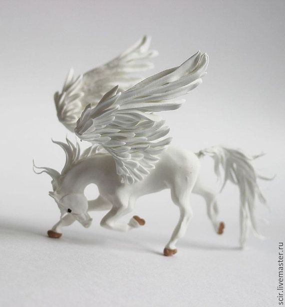 White Pegasus Horse Skulpture Figurine Art by DemiurgusDreams, $90.00  Only 1 available  Handmade item Materials: clay, velvet clay, acrylic