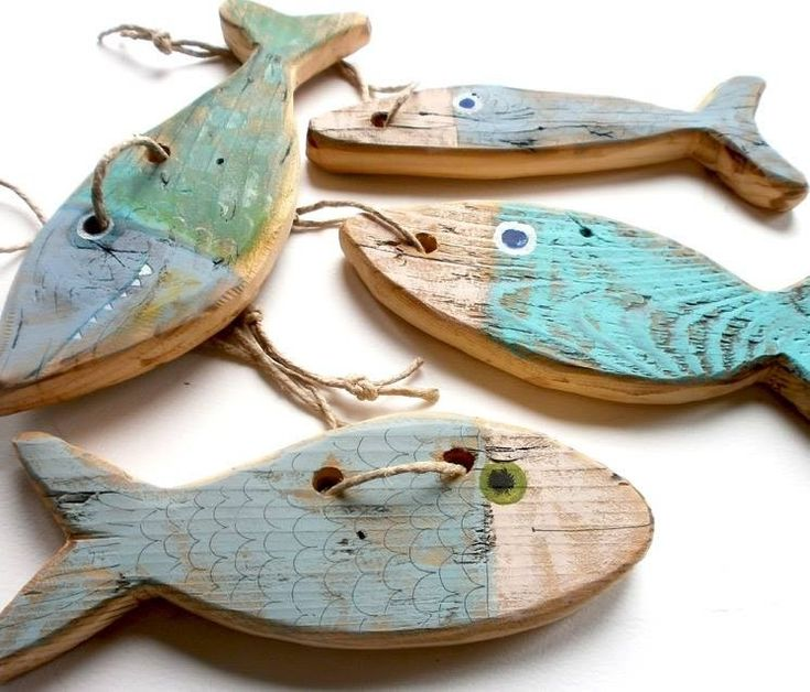 Pececitos con madera reciclada, fácil y bonito,