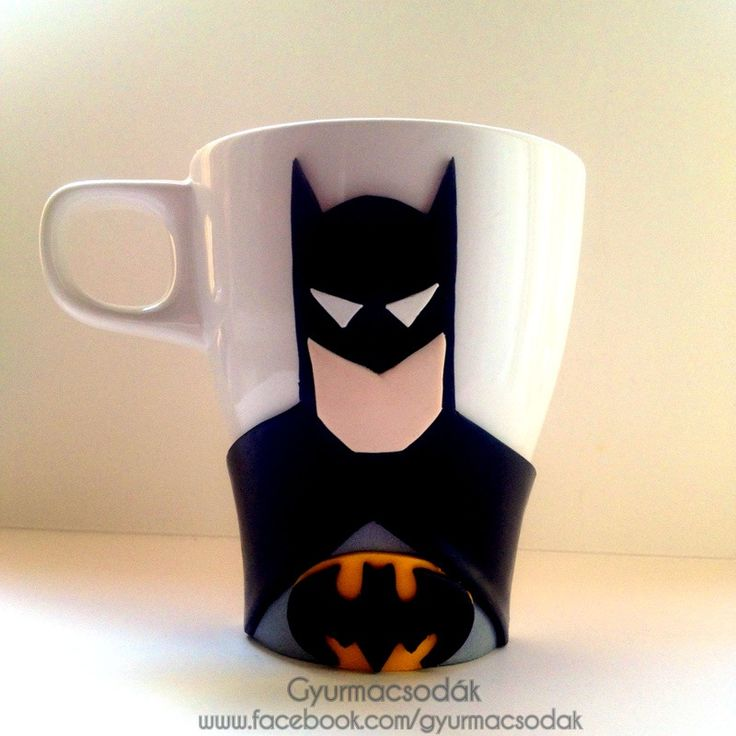 Polymer clay Batman mug and spoon: handmade Batman gift. Collect all of the Marvel mugs. Ordering info: gyurmacsodak@gmail.com Credit: @csontosadri   https://www.facebook.com/gyurmacsodak/