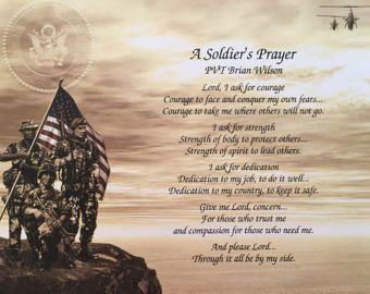 Army Gift, A Soldier's Prayer, Veterans Day Gift, Gift for Army, Army Birthday Gift, Army Christmas Gift, Military Gift, Graduation Gift