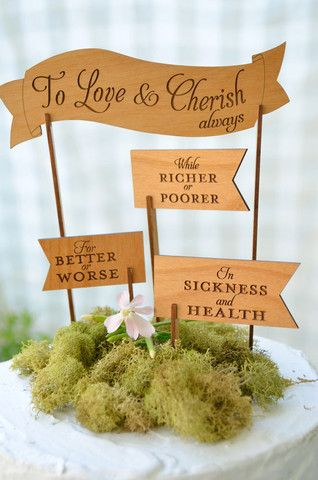 Love & Cherish Cake Topper | *so* cute and southern, want to customize them as pie toppers for the engagement party