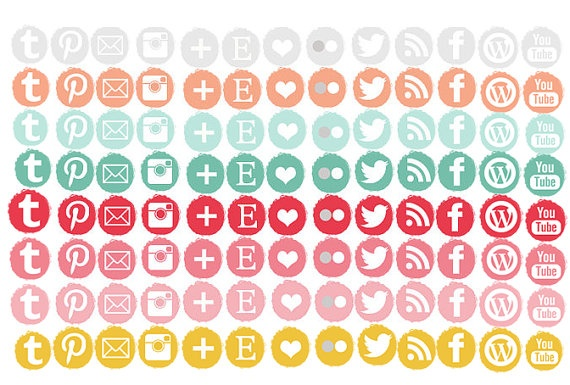60 0ff/INSTANT DOWNLOAD/ All 104 social media icons set