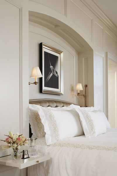 ivory bedroom, recessed wall for headboard and sconces  #design #interior #interior_design