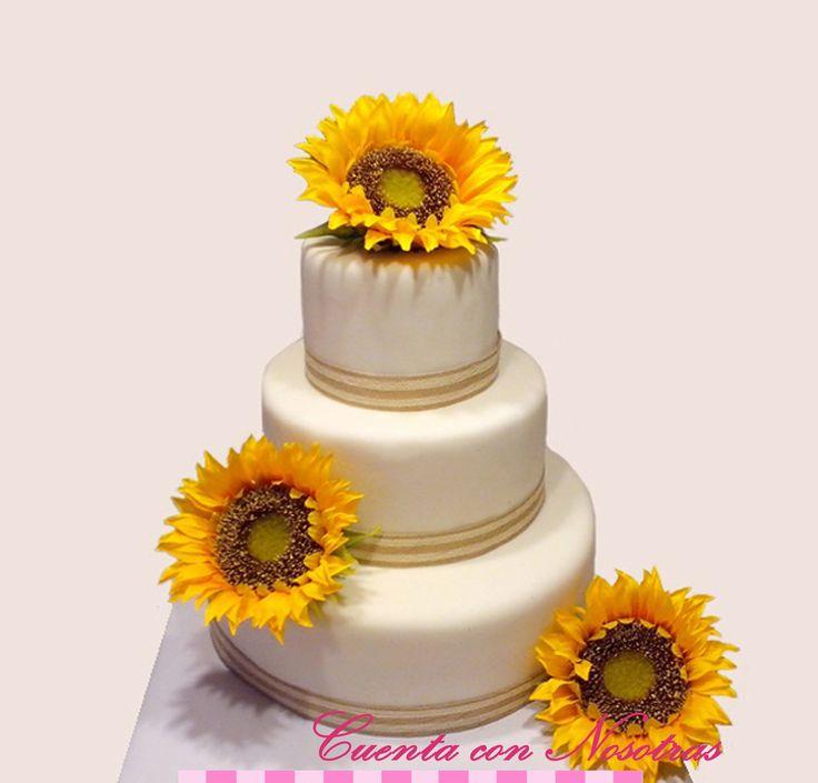 Torta novios Torta bodas Torta maqueta Torta girasoles
