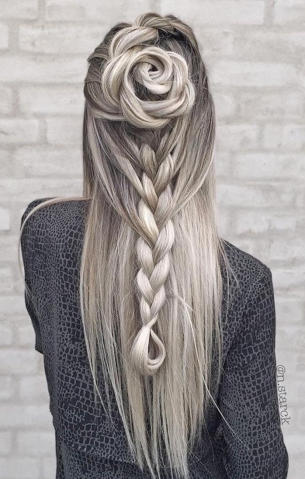blond ombre wearing rose hairstyle