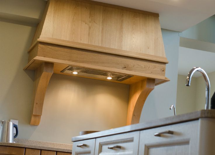 Oak Provence canopy. Kitchen by Newhaven Kitchens Carlow.